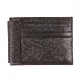 Porte-cartes Lacoste en cuir grainé noir