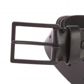 Ceinture ajustable Lacoste en cuir noir à boucle classique en métal noir