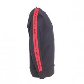 Sweat col rond Diesel noir à bandes striées rouges et floquées Diesel