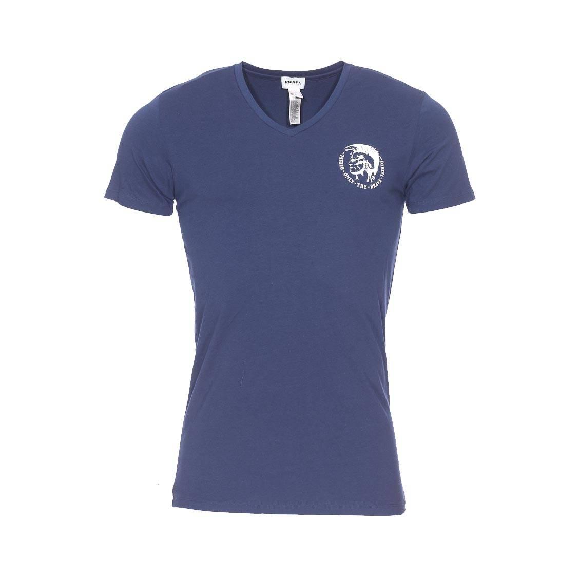 Tee-shirt col v diesel en coton stretch bleu marine