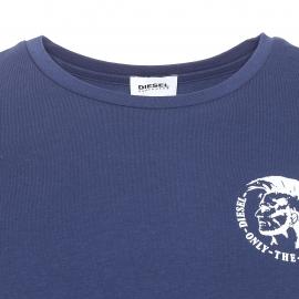 Tee-shirt col rond Diesel en coton stretch bleu marine
