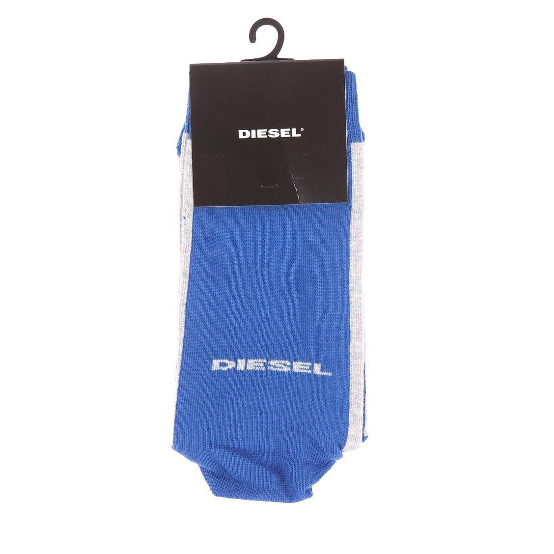 Chaussettes  bleu électrique à bordures grises