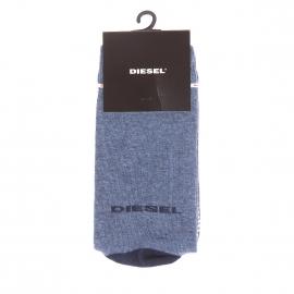 Chaussettes Diesel bleu jean à surpiqûres blanches et rouges effet jean