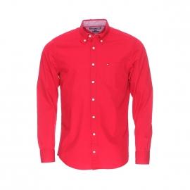 Chemise ajustée Tommy Hilfiger en popeline rouge, opposition blanche à motifs rouges