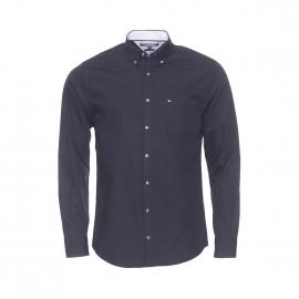 Chemise ajustée Tommy Hilfiger en popeline noire opposition blanche à motifs