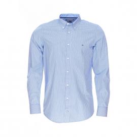 Chemise cintrée Tommy Hilfiger Lexington en coton à rayures bleu clair et blanches