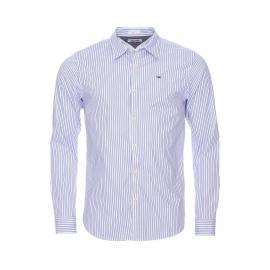 Chemise cintrée Hilfiger denim en coton stretch blanc à rayures bleu grisé