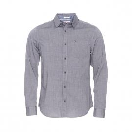 Chemise droite Hilfiger denim fil à fil gris foncé