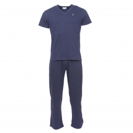 Pyjama Serge Blanco bleu marine : tee-shirt col V et pantalon à ceinture tricolore