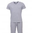 Pyjama Serge Blanco gris chiné : tee-shirt col V et pantalon à ceinture tricolore