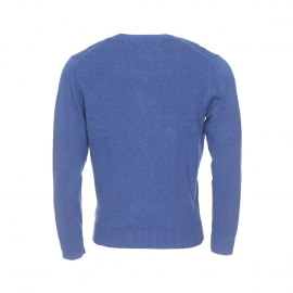 Pull col V Tommy Hilfiger en coton pima et cachemire bleu barbeau