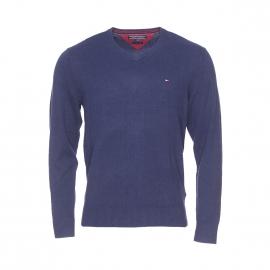 Pull col V Tommy Hilfiger en coton pima et cachemire bleu marine