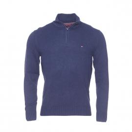 Pull col zippé Tommy Hilfiger en coton pima et cachemire bleu marine