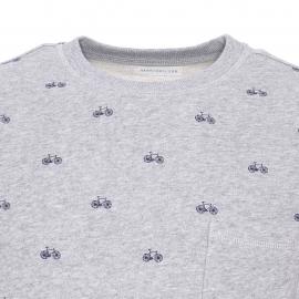 Sweat col rond Pablo Harris Wilson en coton gris chiné à petits motifs bicyclettes