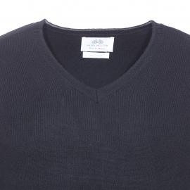 Pull col V Salamandre Harris Wilson en coton et laine noir