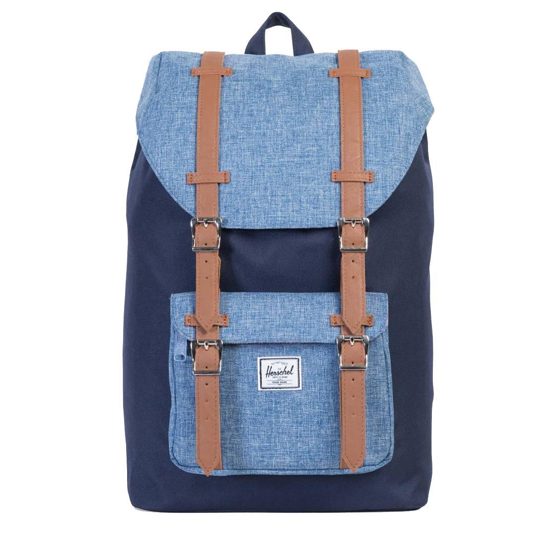 sac dos herschel little america mid volume bleu marine et bleu jean rue des hommes. Black Bedroom Furniture Sets. Home Design Ideas