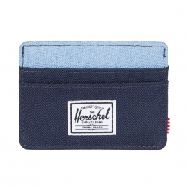 Porte-cartes Herschel Charlie bleu marine et bleu jean