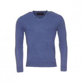 Pull col V boutonné Izac en coton et cachemire bleu