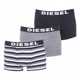 Lot de 3 boxers Diesel en coton stretch noir, gris chiné et à rayures