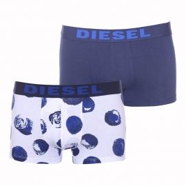 Lot de 2 boxers Diesel en coton stretch blanc à motifs bleu marine et uni bleu marine