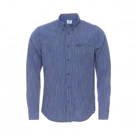 Chemise ajustée Lee en coton à fines rayures bleu indigo et blanches