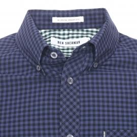 Chemise ajustée Ben Sherman en coton  à carreaux vichy bleu marine et noirs