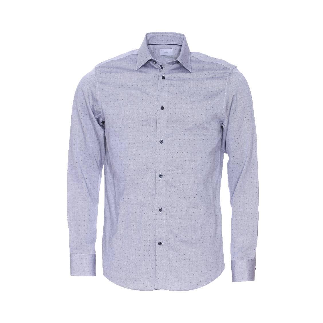 Chemise ajustée  en coton gris à petits motifs
