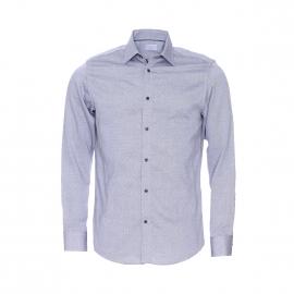 Chemise ajustée Selected en coton gris à petits motifs
