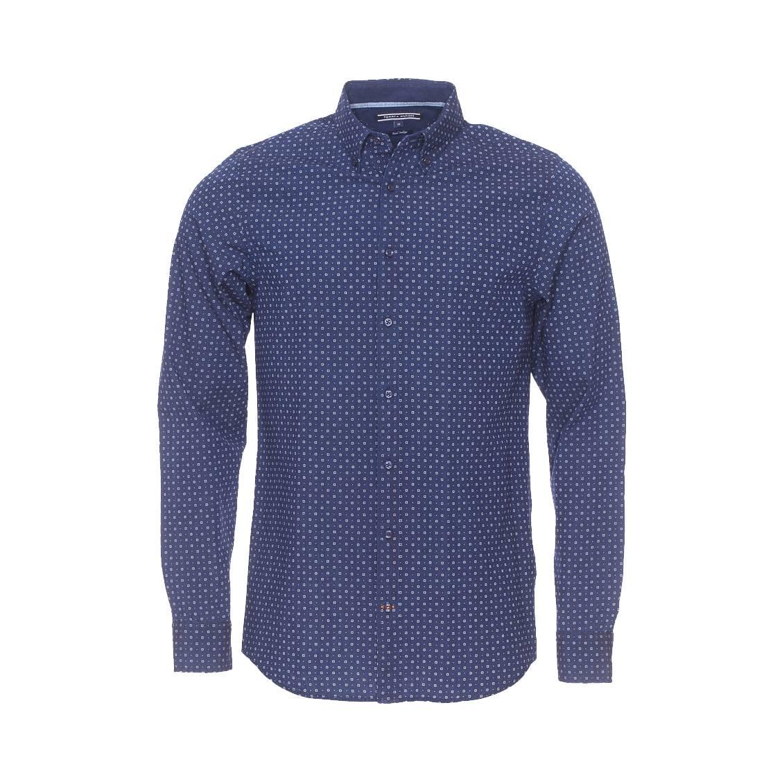 chemise ajust e tommy hilfiger en coton bleu marine petits motifs pois blancs rue des hommes. Black Bedroom Furniture Sets. Home Design Ideas