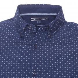 Chemise ajustée Tommy Hilfiger en coton bleu marine à petits motifs pois blancs