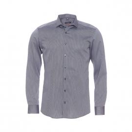 Chemise ajustée Eterna en coton à fines rayures grises et noires