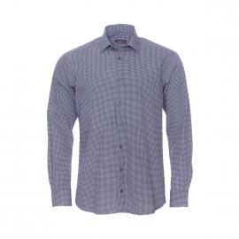 Chemise ajustée Eterna en coton bleu nuit à petits motifs blancs