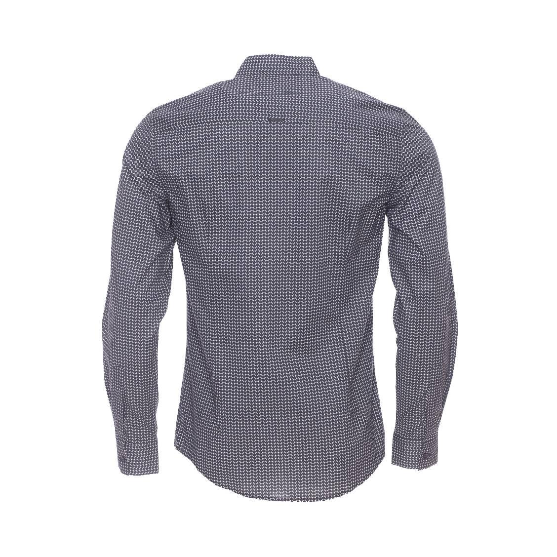 chemise cintr e antony morato en coton noir motifs et col mao rue des hommes. Black Bedroom Furniture Sets. Home Design Ideas