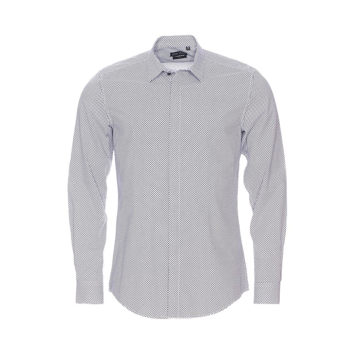 Chemise cintrée  en coton blanc à motifs noirs