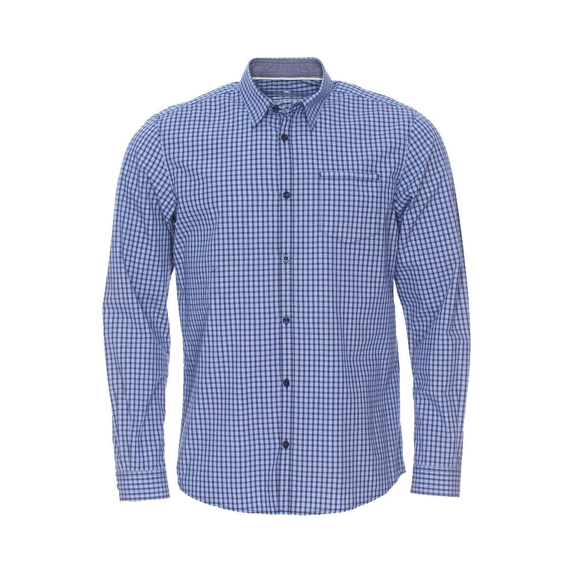Chemise ajustée  en coton à carreaux vichy bleus