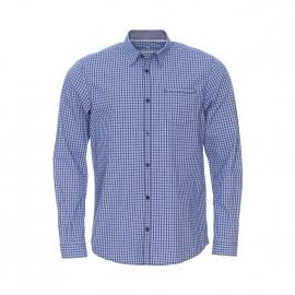 Chemise ajustée Tom Tailor en coton à carreaux vichy bleus