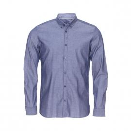 Chemise ajustée Tom Tailor en coton gris effet jean aspect satiné