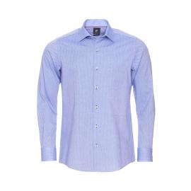 Chemise droite Pierre Cardin en coton bleu clair à petits motifs bleu marine