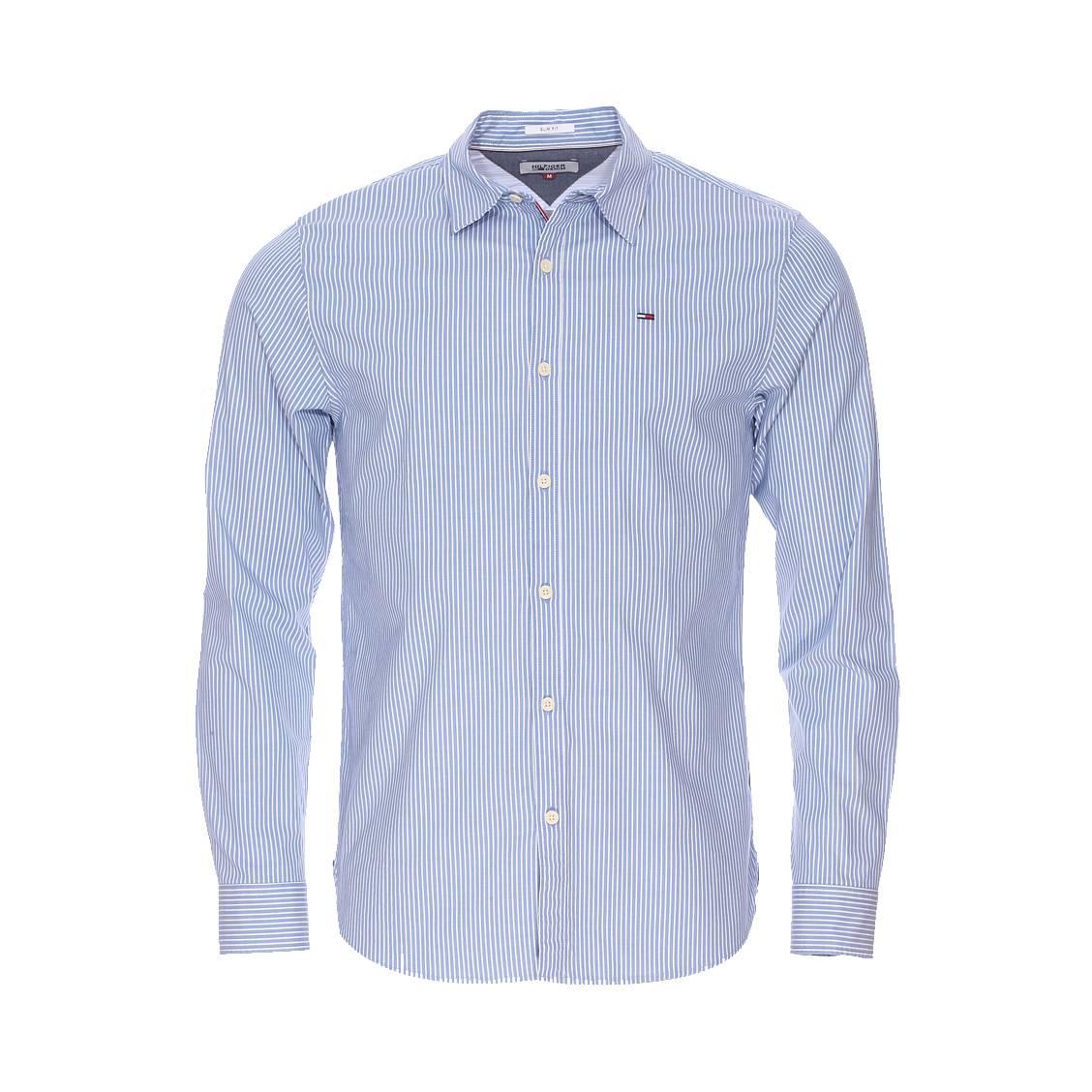chemise cintr e hilfiger denim rayures bleues et blanches rue des hommes. Black Bedroom Furniture Sets. Home Design Ideas