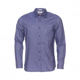 Chemise droite Hilfiger Denim en coton bleu marine aspect jean