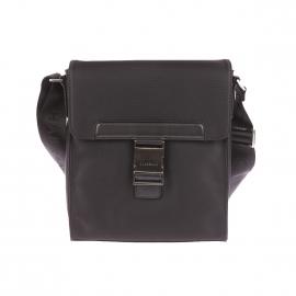 Sacoche à rabat Castellet Chabrand en toile garnie de cuir noire
