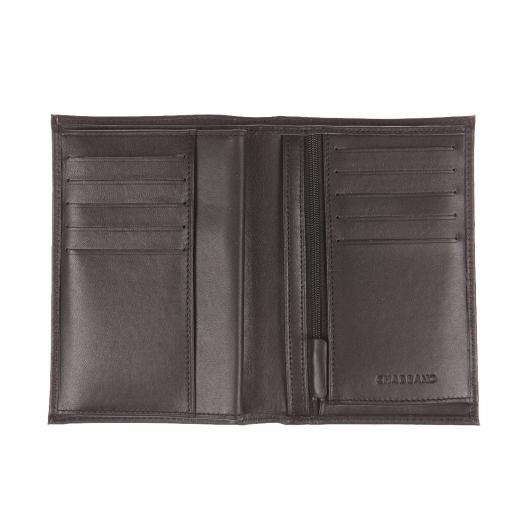 Grand portefeuille européen Chabrand à 4 volets en cuir noir FKI8Zk