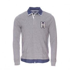 Polo manches longues Terence Rugby Tommy Hilfiger gris doublé d'une fausse chemise