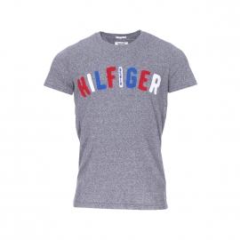 Tee-shirt col rond Hilfiger Denim gris chiné, brodé