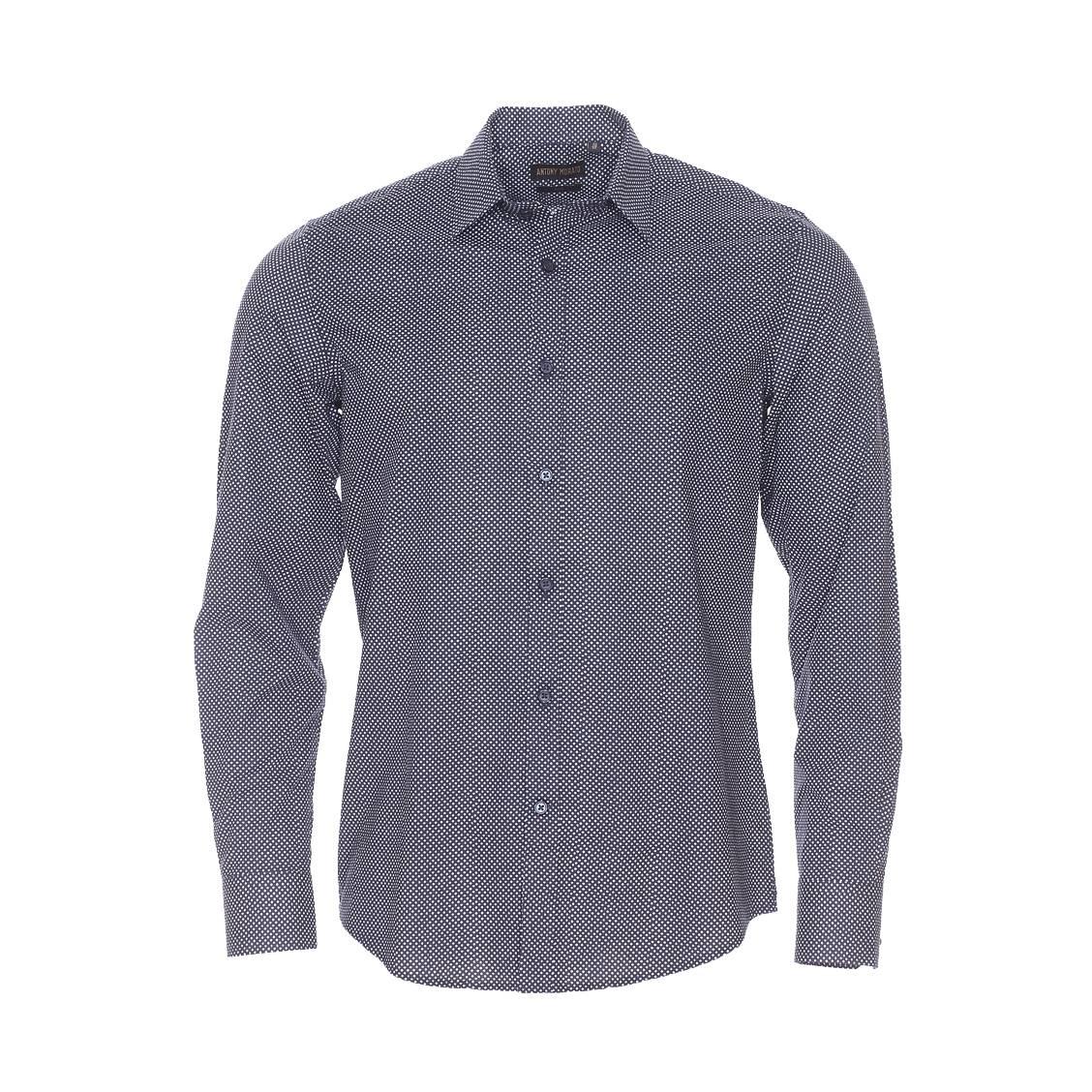 Chemise slim  en coton bleu marine à petit motif losange blanc
