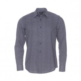 Chemise slim Antony Morato en coton bleu marine à petit motif losange blanc