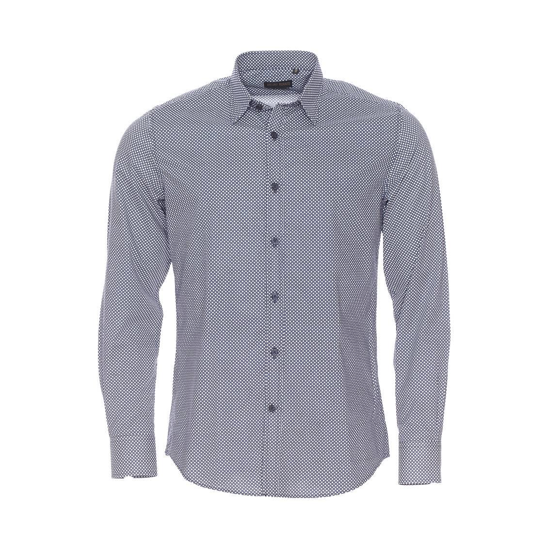 Chemise slim  en coton à petit motif mosaïque bleu-grisé et blanc