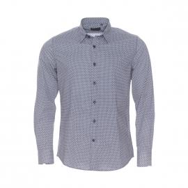 Chemise extra slim Antony Morato en coton à petit motif mosaïque bleu-grisé et blanc