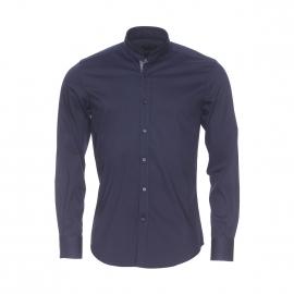 Chemise extra slim Antony Morato bleu marine à col mao
