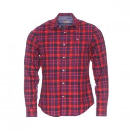 Chemise cintrée Napapijri en coton rouge à carreaux bleu marine et bleu indigo